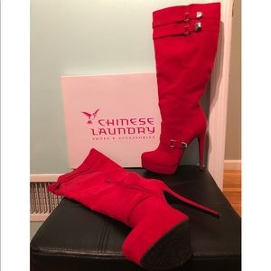 Red Micro Suede Boots